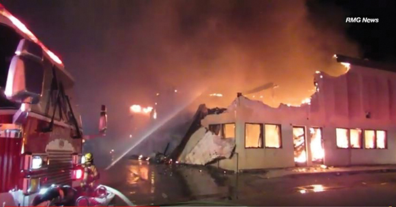 Big fire destroys auto body shop